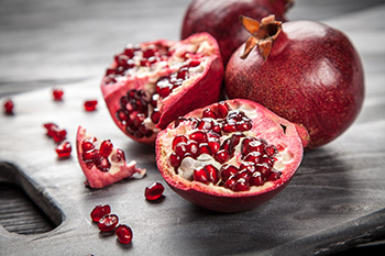 Pomegranate is typically in season September through February in the Northern hemisphere and March to May in the Southern hemisphere.