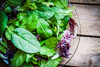 Spinach has many health benefits: it is low in calories and high in Vitamins A, C, and K, and folate as well as being a good source of iron and magnesium.