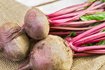 Multiple varieties of beets are available including red, yellow or gold, and candy-cane striped colored Chioggia beets.