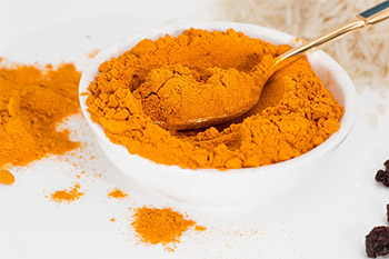 Turmeric is a common ingredient in curry seasonings and has a bright orange to yellow color. Turmeric is an excellent source of manganese and a good source of iron.